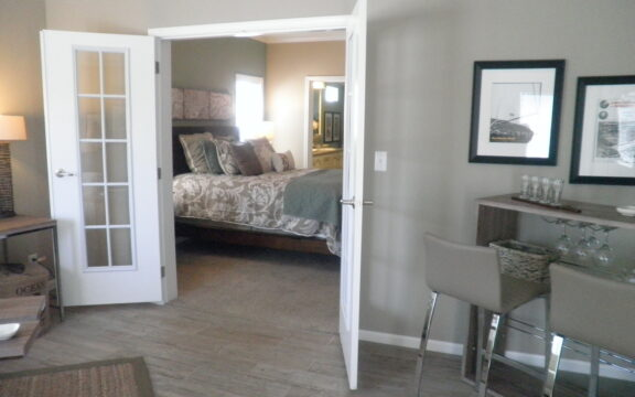 Looking at master bedroom from the sun room retreat - Wellington X348F6 by Palm Harbor Homes