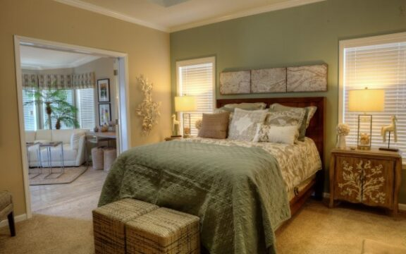 The Wellington's gorgeous master bedroom is adjacent to the sun room and to the master bathroom and the rest of the master suite. This is like living in a 5-star hotel!