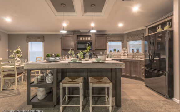 Kitchen/dining area with large windows and plenty of natural light - Siesta Key II P2566Q by Palm Harbor Homes